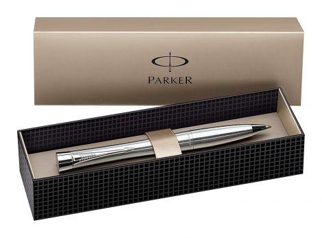Parker Urban Chrome Trim Ballpoint Pen with Medium Nib - Metallic, Gift Boxed (S0767120)