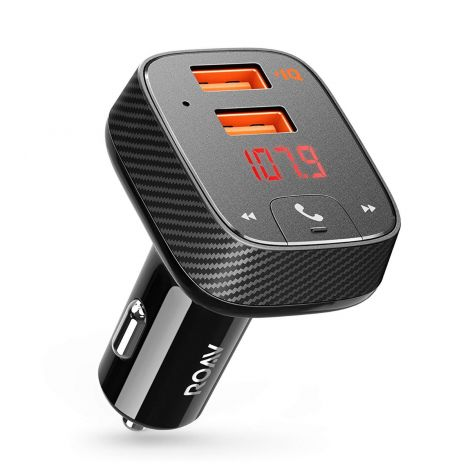 Anker Roav Car Charger Bluetooth Adapter FM Transmitter, 24 W/4.8 A Receiver with Hands-Free / GPS Tracker App for iOS and Android