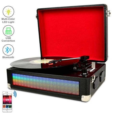 DIGITNOW Bluetooth Vinyl Turntable Vinyl Record Player with Built-in Dual Stereo Speakers MP3 Recording, LP 3-Band Drive Aux Input RCA Output