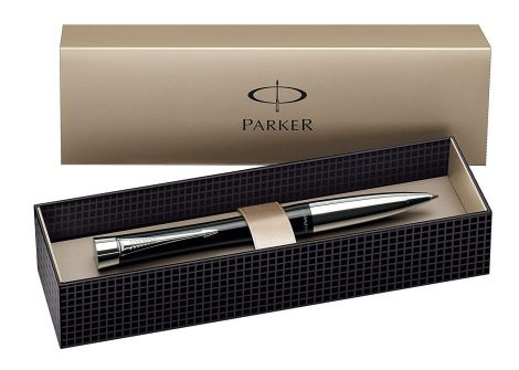 Parker Urban Chrome Trim Ballpoint Pen with Medium Nib - Fashion Black, Gift Boxed (S0767130)