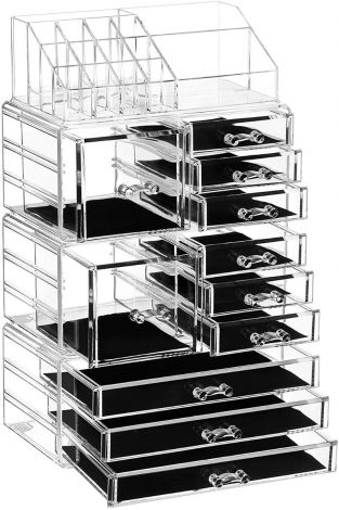 Makeup cosmetic organiser with 11 drawers and 15 compartments in different sizes 4in1XXL (JKA017TP)