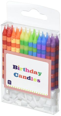 Talking Tables Birthday Bash Striped Candles with 24 Holders for Birthday and Party Celebrations (24 Pack)