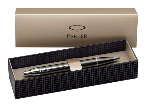 Parker IM Chrome Trim Retractable Ballpoint Pen with Medium Point, Gift Boxed - Gunmetal (S0856490)