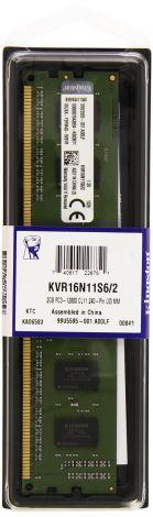 Kingston RAM 2 GB 1600 MHz DDR3 240-Pin 1.5 V (KVR16N11S6/2)