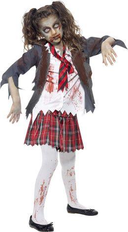 Zombie schoolgirl costume, Skirt, Jacket, Mock Shirt and Tie, Size: 10-11
