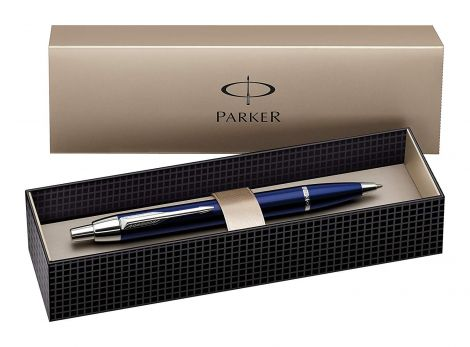 Parker IM Chrome Trim Retractable Ballpoint Pen with Medium Nib, Gift Boxed - Blue (S0856460)