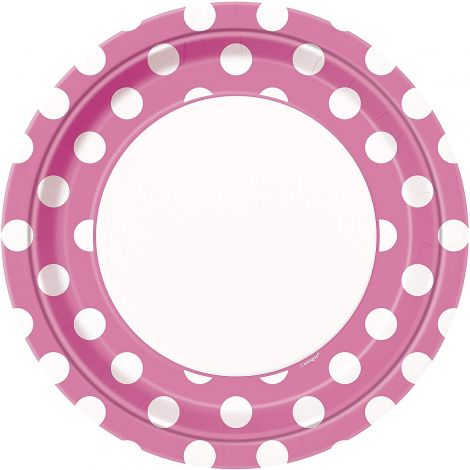 Unique Party 37485 Hot Pink Polka Dot Party Plates, Pack of 8