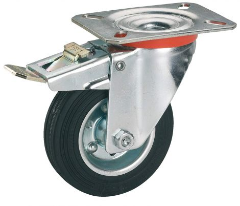 Dörner Helmer 712172 Solid Rubber Fixed Castor Wheel with Roller Bearings 125 x 37 mm / Panel 100 x 85 mm