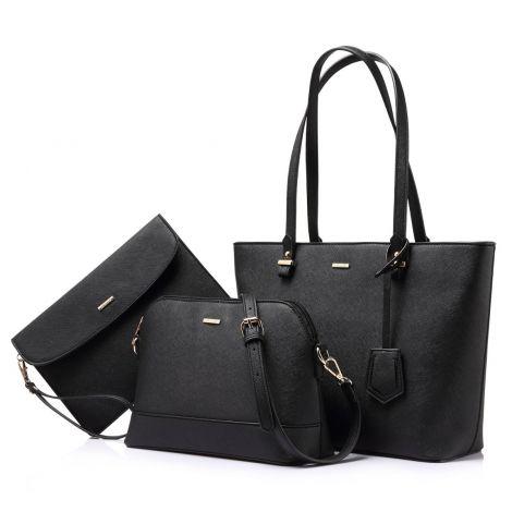 LOVEVOOK Women's shoulder bag set of 3 (black)