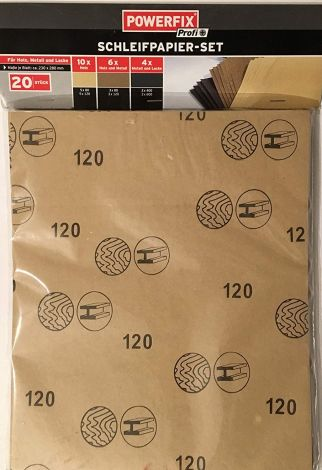 Sandpaper Set Powerfix Profi 20 Leaves Measure Approx. 230 X 280 Mm Pack Of 10 Wood (5/80/120) 6 x Wood and Metal (3 x 80 and 3 x 120) 4x Metals and Varnishes (2x 120 + 2x 240)
