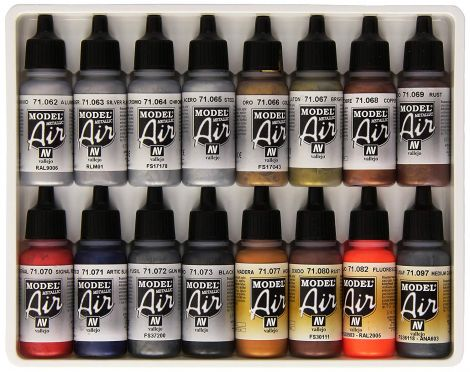 Vallejo Model Air Metallic Effects Acrylic Paint Set for Air Brush Assorted Colours - 71181 (Pack of 16)