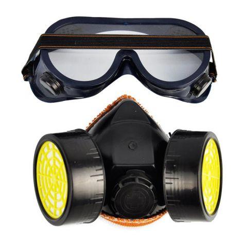 Βιομηχανική Μάσκα PVC Διπλού Αναπνευστήρα για Σκόνη Χημικά Αέρια και Μπογιά και Προστατευτική Μάσκα για τα Μάτια (PVC2FGL)