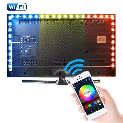 USB TV Backlights Bias Lighting WiFi Remote Led Strips Lights (5V , 10watt) RGB Color SMD5050 2M 60 LEDs Waterproof (Work with Echo Alexa, Google Home & IFTTT)