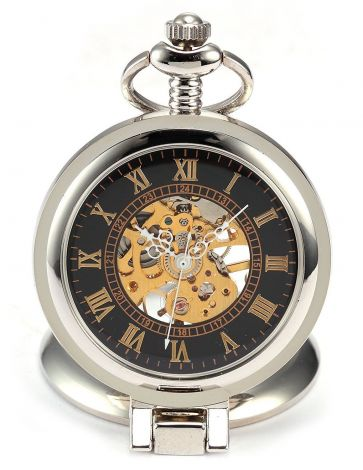 Black Dial Magnifier Mens Skeleton Mechanical Silver Pocket Watch Fob Chain