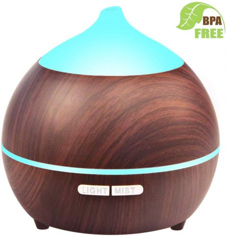 Avaspot Aroma Diffuser 250 ml Wood Grain Aromatherapy 7 Colour LED (Dark Brown)