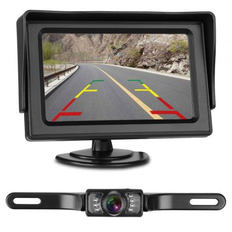 Backup Camera and Monitor 4.3 Kit for Car/Vehicle/Truck Waterproof Night Vision License Plate wire Single power source
