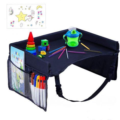 Kids Car Seat Travel Tray with Mesh Pockets, Tray Organizer for Bus Car Train Plane  (Blue)