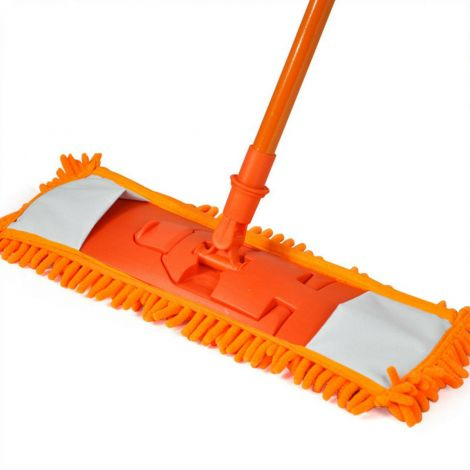 Extendable Microfibre Mop Cleaner Sweeper Wooden Laminate Tile Floor Wet Dry (Orange)