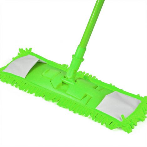 Extendable Microfibre Mop Cleaner Sweeper Wooden Laminate Tile Floor Wet Dry (Green)
