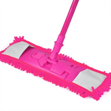 Extendable Microfibre Mop Cleaner Sweeper Wooden Laminate Tile Floor Wet Dry (Pink)