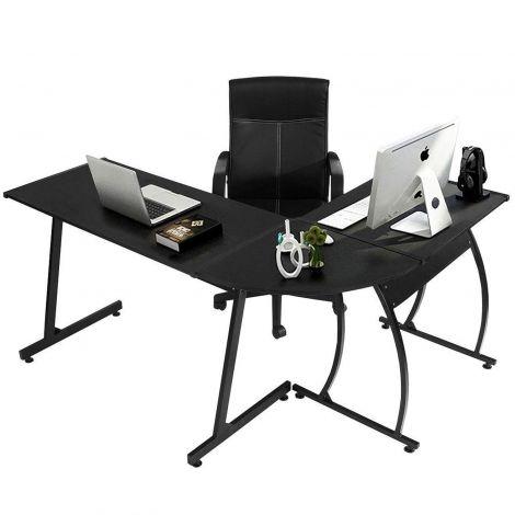 Computer Desk Office Desk L-Shaped Wood Corner Desk Gaming Desk