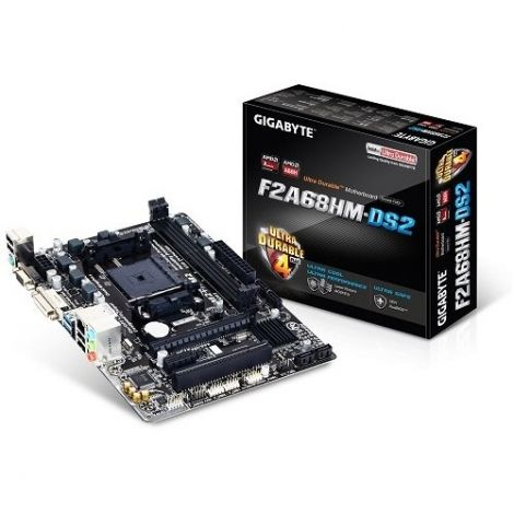 Gigabyte Ultra Durable F2A68HM-DS2 Motherboard Rev. 1.1 (Socket FM2+, AMD A68H, Micro ATX, SATA/RAID, Gigabit, LAN)