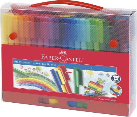 Faber-Castell Colouring Connector Felt-Tip Pens in Case 60 Pieces (155560)