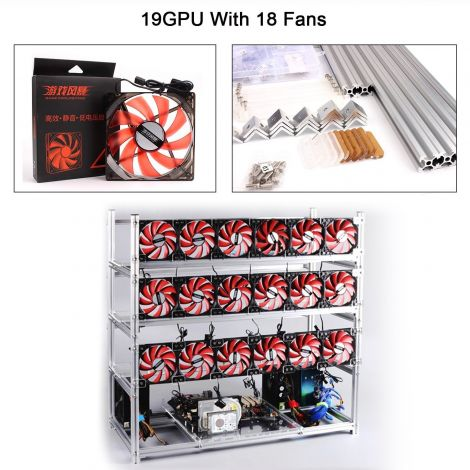 Fojusteu Aluminum 19 GPU Stackable Open Air Mining Rig Case With 18PCS 120mm Case Fan For ETH/ETC/ZCash/Cryptocurrency (Red Fans-Silver)