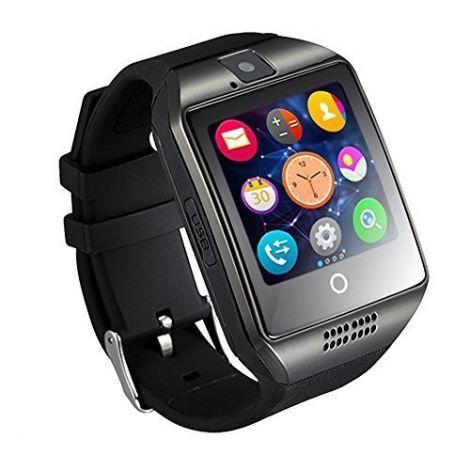Fotowelt Q18 Έξυπνο Ρολόι Bluetooth Με Υποδοχή Κάρτας Sim (Μαύρο)