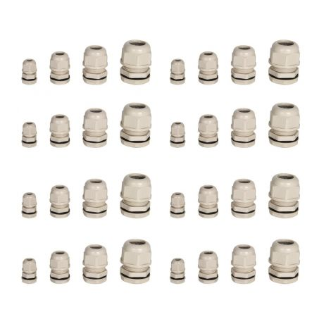 Cable Gland With Plastic Locking Nut - Grey M12/M16/M20/M25 (32 pcs)