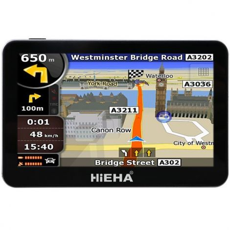 "Hieha 4.3"" Inch Car Bus GPS SAT NAV SpeedCam Lifetime EU Maps 8GB (HS01-1)"