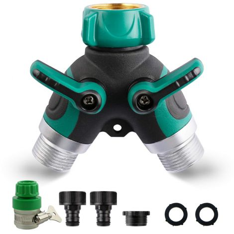 Garden 2 Way Hose Connector Water Taps Distributor 2 Way with Regulable and Lockable Rubberized Grip