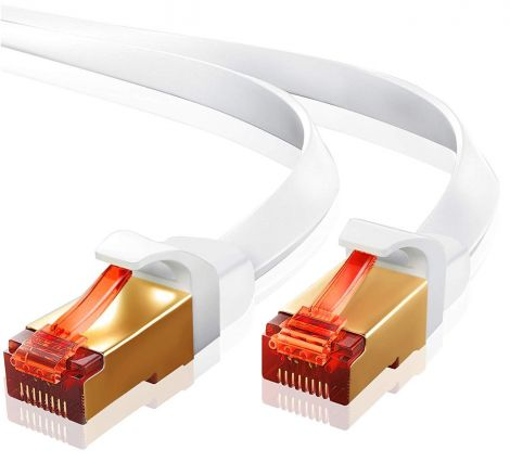 IBRA CAT7 Ethernet LAN Network Cable - High Quality / CAT7 (Advanced) / 10Gbps 600MHz / RJ45 / Gold Plated Plug STP wires White (3M)