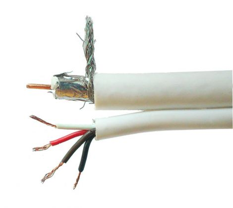 Micro coaxial cable CCTV RG59 White per meter(18096)