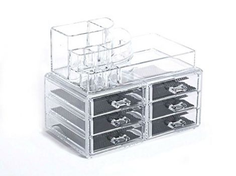Kamay's Big Size Makeup Case Acrylic Clear Cosmetic Organiser Display Box 6 Drawers With 8 Sectipns Top Section For lipstick holder Nail Polish And bottled lotion(SF-1158)