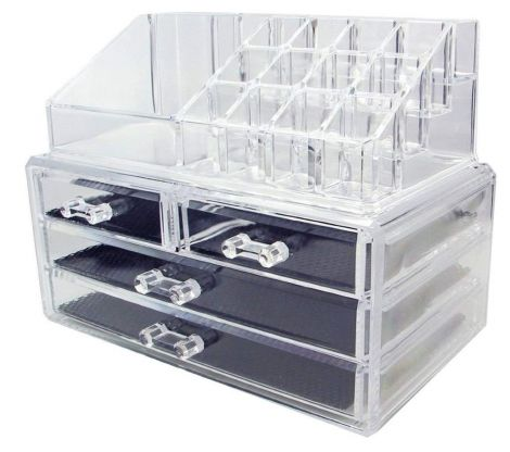 Kamay's Big Size Makeup Case Acrylic Clear Cosmetic Organiser Display Box 4 Drawers Plus Lipstick Makeup Brush Tray Top Section (SF-1155)