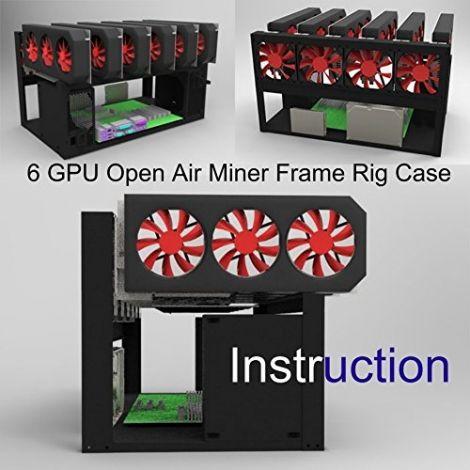 Kyerivs Open Air Mining Frame Rig Case Up to 6 GPU for BTC/LTC/ETH/Ethereum/ETC/ZCash/Monero