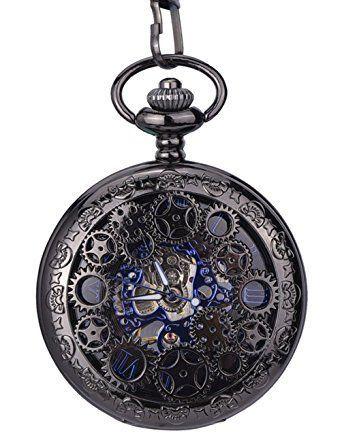 Steampunk Blue Hands Scale Mechanical Skeleton Pendant Pocket Watch