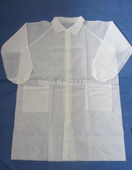 Nonwoven apron white with buttons 1pc sealed