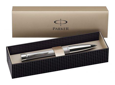 Parker Urban Chrome Trim Ballpoint Pen with Medium Nib - Fashion Silver, Gift Boxed (S0767140)