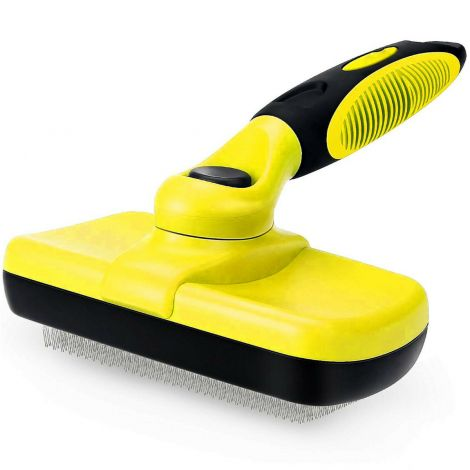 Self Cleaning Dog Cat Slicker Brush Grooming For Medium And Long Hair Pets (Yellow)