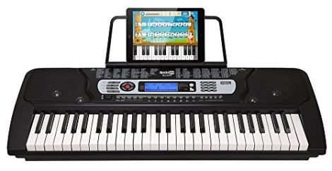 RockJam 54-Key Portable Digital Piano Keyboard with Music Stand and Interactive LCD Screen (RJ654)