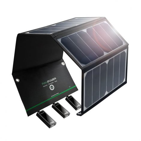RAVPower 24W Foldable Waterproof solar charger with 3 USB iSmart port (RP-PC005)