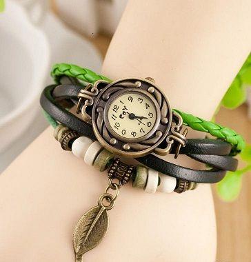 Retro Weave Wrap Around Leather Bracelet Lady Wrist Quartz Watch (Green)