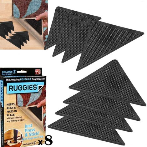 8 X RUG CARPET MAT GRIPPERS RUGGIES NON SLIP SKID REUSABLE WASHABLE GRIPS (057247)