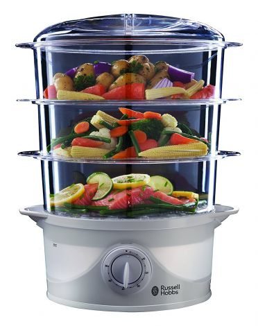 Russell Hobbs 3 Tier 9 L 800 W Food Steamer 21140 (White)
