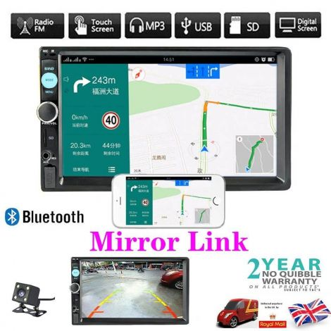 "7"" Double 2DIN Car Player Stereo FM Radio Mirror Link Bluetooth USB AUX + Camera"