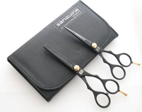 Sanguine Professional Hair Scissors and Hair Thinning Scissors Set 5.5 inch + Case (Black)