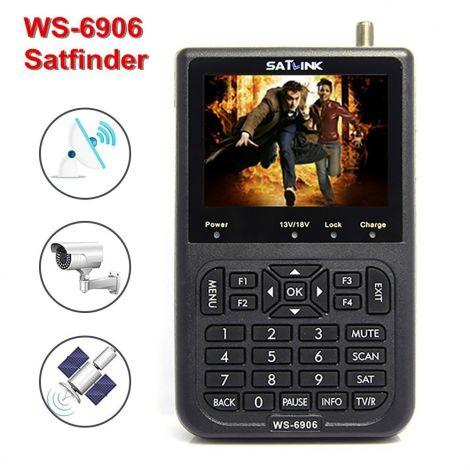 "SATlink WS-6906 Satellite Signal Finder, Digital Sat Finder Detector Searcher with 3.5"" LCD, Directv Meter for TV, DVB-S/S2 HD DVB-S2 FTA LNB, Built-in 3000mAH Battery"
