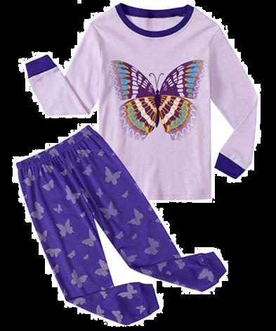 Garsumiss Girls Pyjamas Set Cute Kids Long Sleeve Cotton Pjs Pajama Sleepwear Tops Shirts & Pants Purple/Butterfly (7 years)